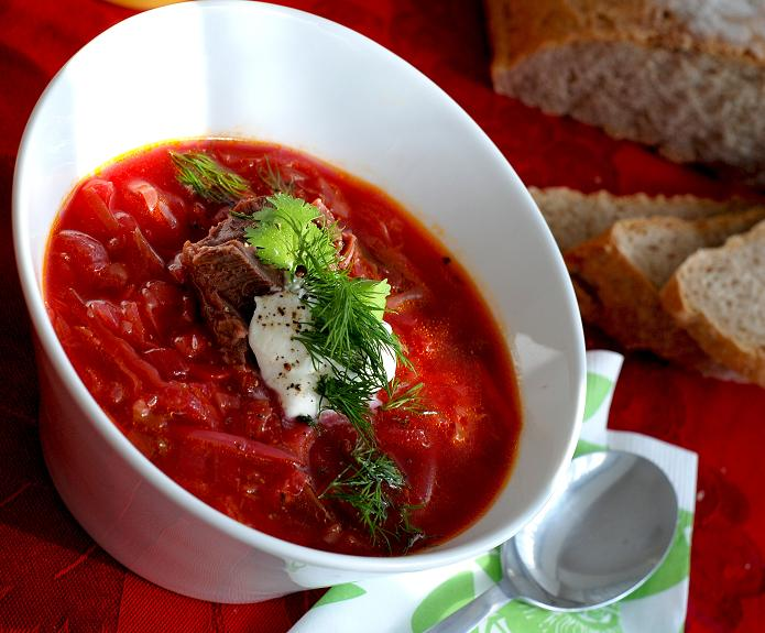 Russian borsch with beef and sour cream