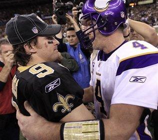 Saints Win(Brees & Favre) Photo by David J. Phillip AP