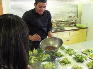 Chef Jay talking to Crystal