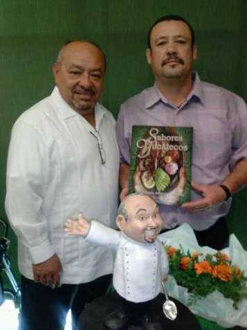 Chef Gilberto(L) with Chef Angel at tasting of Sabores Yucatecos Cookbook recipes.