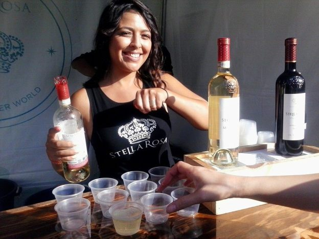 Serving wine at the LA Street Food Festival