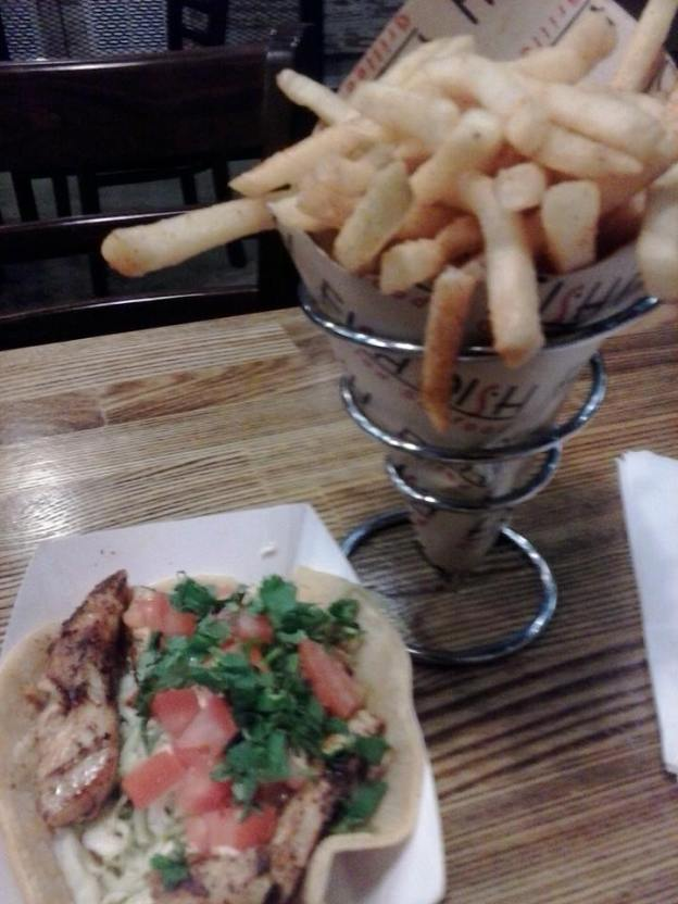Fish Taco and Fries at Fish Dish